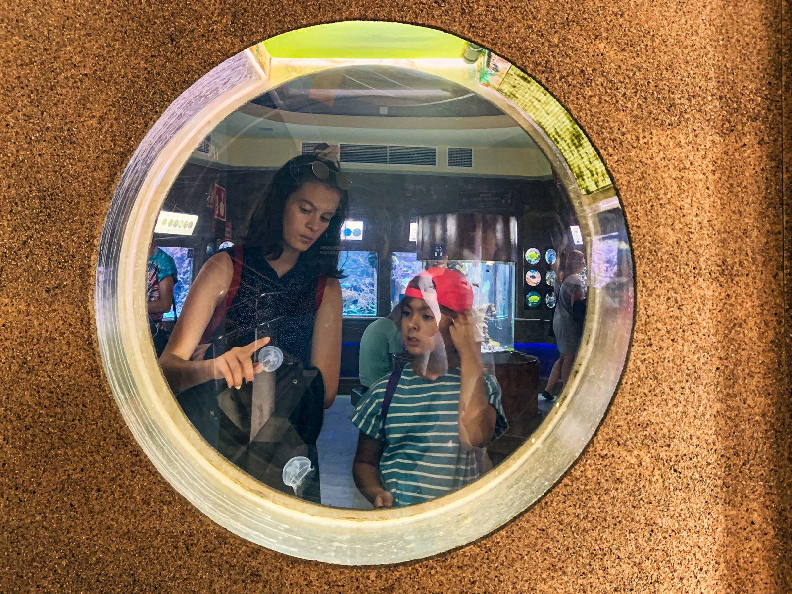 siostry ogladaja meduzy w akwarium